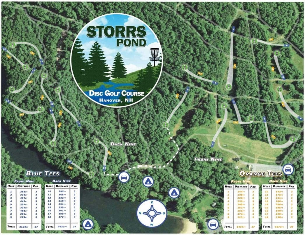 Storrs Pond Disc Golf Course Map