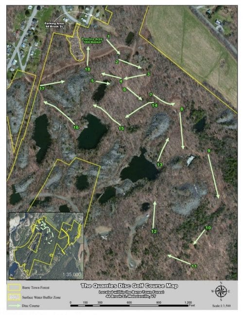Satellite map of Quarries disc golf course